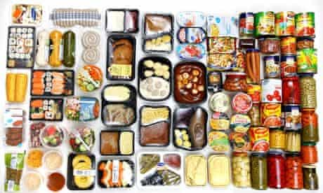 Selection of packaged food