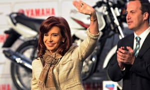 President Cristina Fernández de Kirchner visits a Yamaha factory in Buenos Aires