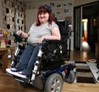 Michaela Hollywood, born with spinal muscular atrophy, in her wheelchair