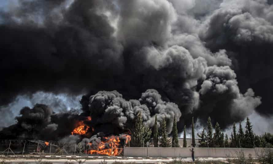 Fire raging in Gaza's main power plant following an overnight Israeli airstrike, south of Gaza City