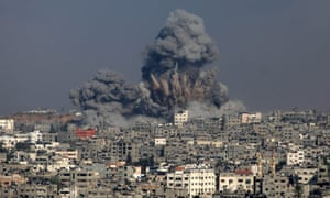 Smoke rises following what witnesses said were Israeli air strikes in the east of Gaza City July 29, 2014.