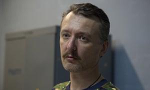 Igor Strelkov, a pro-Russian rebel commander, speaks to the media in the city of Donetsk