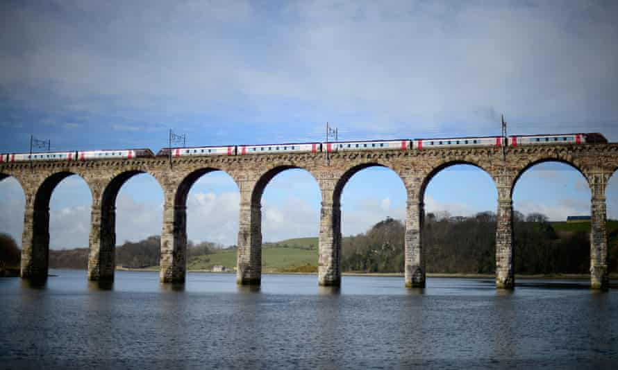 A train crosses the Royal Border Bridge in Berwick-upon-Tweed, England's most northern town close to the Scottish border.