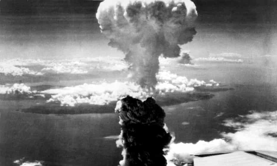 A mushroom cloud rises more than 60,000 feet into the air over Nagasaki, Japan after an atomic bomb was dropped by the US bomber Enola Gay, 9 August 1945.