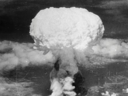 A mushroom cloud rises more than 60,000 feet into the air over Nagasaki, Japan on August 9, 1945.