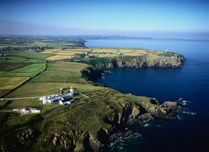 Looking down on Lizard Lighthouse and Lizard Point, the southernmost tip of Cornwall