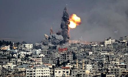 Smoke rises after an Israeli air strike in Gaza City.