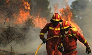 Wildfires Zaragoza in Spain