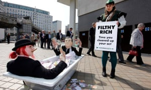 robin hood Campaigners get their message across in London.
