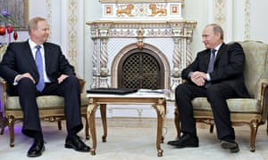 Russian Prime Minister Vladimir Putin with BP CEO Bob Dudley