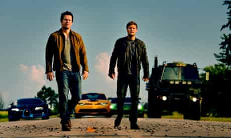 Mark Wahlberg, L, as Cade Yeager and Jack Reynor as Shane Dyson, in Transformers: Age of Extinction