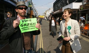 Former party leader Caroline Lucas with a Green Party supporter in Brighton.