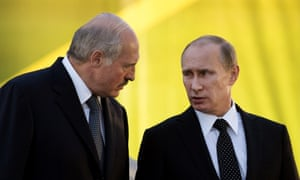 Russia's President Vladimir Putin (R) visits his Belarus counterpart Alexander Lukashenko in Minsk on 2 July, 2014, to mark Independence Day the following day.