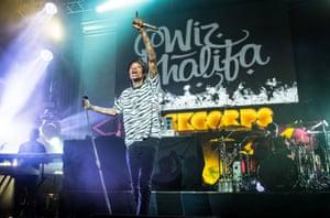 Wiz Khalifa performs at Orange RockCorps in Paris, France