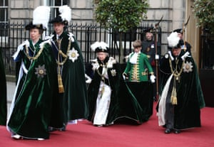 The Princess Royal, Prince William, the Queen and Prince Philip arrive at St Giles' Cathedral in Edinburgh