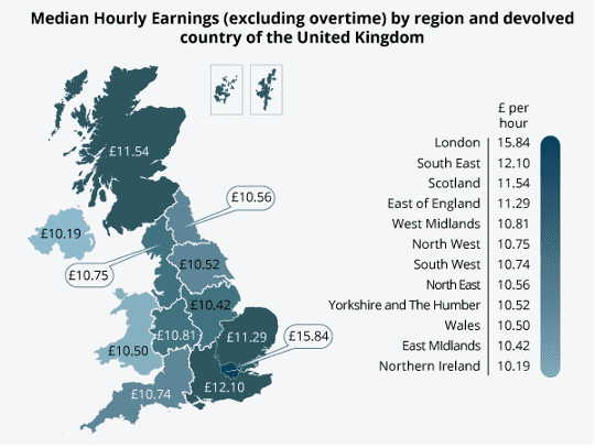 Average hourly pay (excluding overtime) in the regions and devolved countries of the UK, April 2013