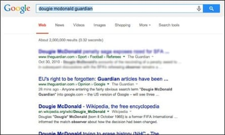 Dougie McDonald web search results