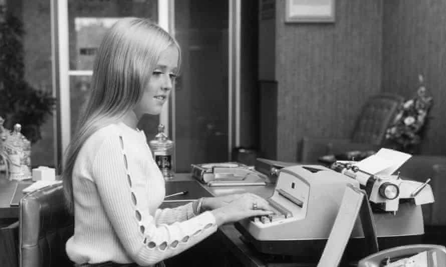 A secretary from the 1970s. Improved technology has helped along productivity in the office since then.