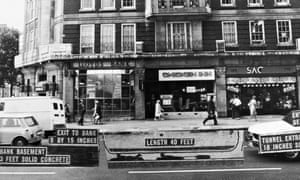 Annotated photo from 1971 showing a bank job