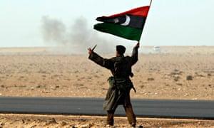 Libya fighter, flag