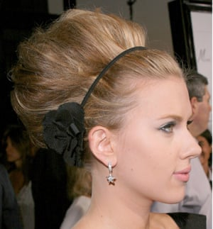 Scarlett Johansson with a beehive hairstyle