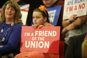 A young girl listens to Prime Minster David Cameron address the Rally for the Union in Perth, Scotland.