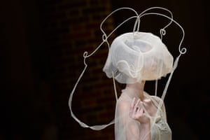 Lamp shade or hat...? An ethereal creation from Natalie Capell during the 080 Barcelona Spring-Summer 2015 fashion week.