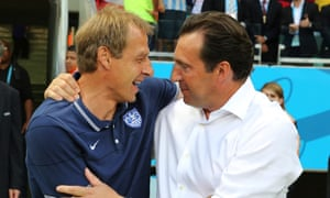 Jürgen Klinsmann with Marc Wilmots after USA's 2-1 defeat by Belgium on Tuesday.
