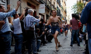 Clippity clop: Participants run at the annual high-heel race during Madrid Gay Pride celebrations in a street of Chueca.