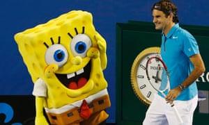 Spongebob Squarepants warming up with Roger Federer.