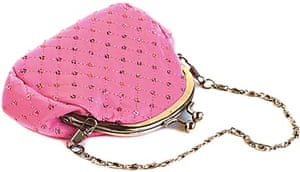 Pink purse with chain on a white background