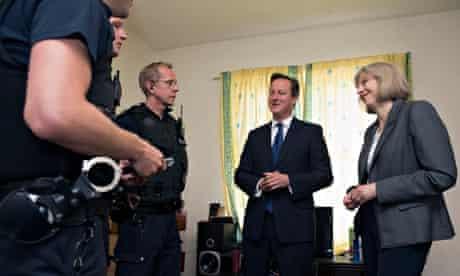 David Cameron and Theresa May in Slough