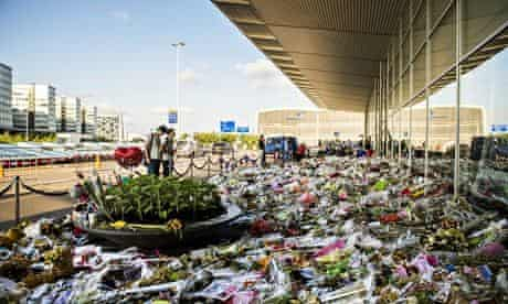Flowers for victims MH17 at Schiphol airport
