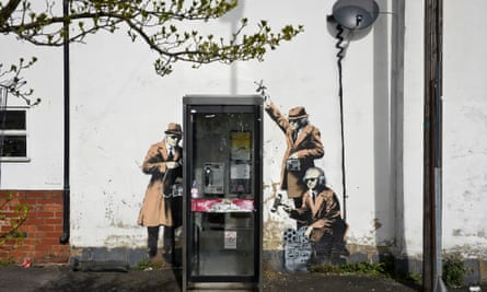 The Banksy mural 'Spy Booth', which was vandalised over the weekend