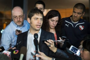 Argentina's economy minister, Axel Kicillof, speaks to the media after leaving negotiations aimed at avoiding his country's second default in 13 years, Tuesday, July 29, 2014, i