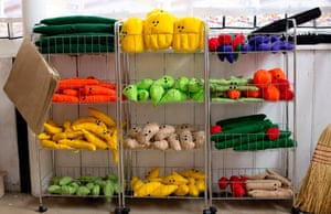 Brightly coloured felt fruit and vegetables