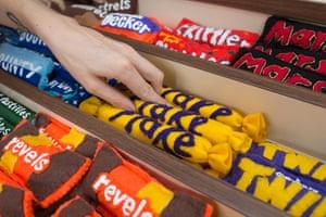 Flake, Twirl, Revels, Skittles and Mars bars in felt