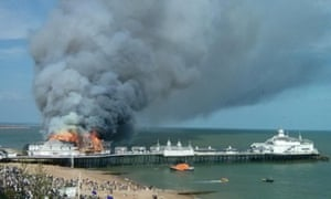 A large fire engulfs the Ocean Suite Wedding Venue on the Eastbourne pier.