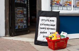 A felt sign outside the shop