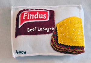 Findus Beef Lasagne sewn from felt