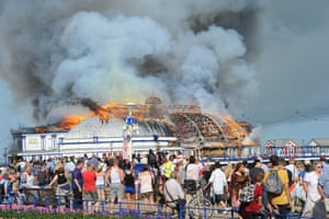 A hotter than expected day on Eastbourne beach as the victorian pier is engulfed in a devastating fire.