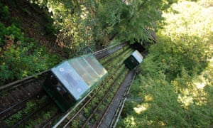 The Centre's amazing water-balanced cliff railway is one of the steepest cliff railways in the world, with a gradient of 35 degrees. When people need to go up or down water flows into a tank in the top carriage until it is heavy enough to pull the lower carriage up, the brakes are released and gravity does the rest!