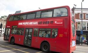 A London bus bearing Stonewall's original advertisement