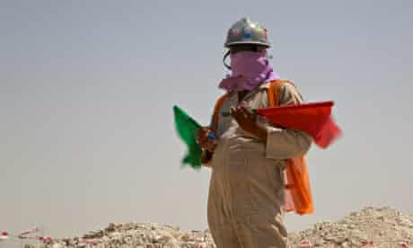 A worker on the Al Wakrah stadium in Qatar, the World Cup 2022 venue to be built