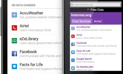 Facebook's Internet.org app is launching in Zambia through operator Airtel.