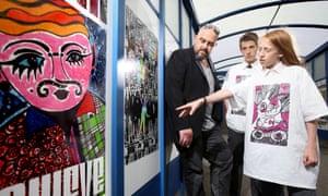 Pupils looking at artwork