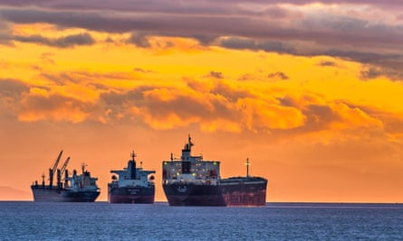 Freighters at sunstet