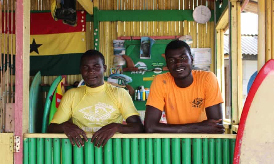 Peter Ansah and Kofi Acquah inside the Black Star Surf Shop