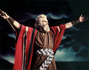 Charlton Heston as Moses in Cecil B DeMille's The Ten Commandments (1956).