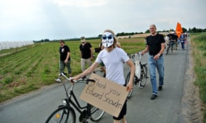 German protesters march from Griesheim to the Dagger Complex, a US intelligence base